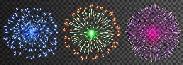 Set di fuochi d'artificio vettoriali isolati