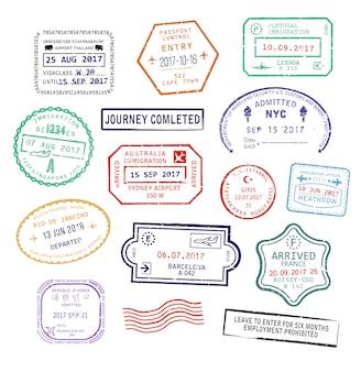 Set di timbri di passaporto visto isolato per il viaggio in usa, città di sydney in australia o in francia