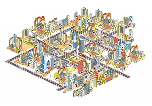 Set di paesaggio urbano isometrico 3d con edifici, strade, case e molti altri. 3d design illustrazione vettoriale