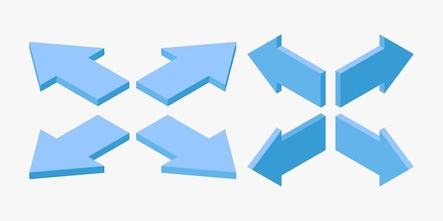 Set di frecce blu isometriche per l'illustrazione vettoriale del concetto di navigazione