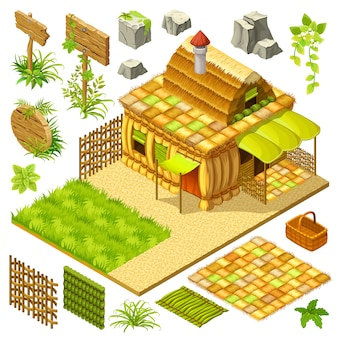 Set di cottage isometrici e elementi di gioco.