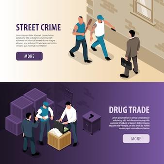 Set di illustrazione di atti criminali isometrici