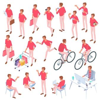 Set di pose e attività di carattere uomo isometrico design piatto vettoriale isometrico uomo che agisce a figura intera diverse pose recitazione pronte per la raccolta di elementi di design di animazione