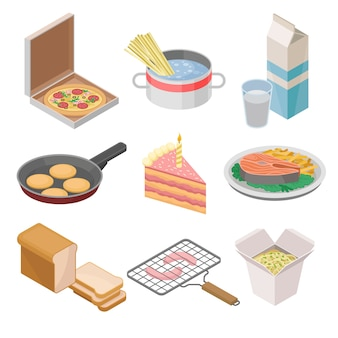 Set di icone cibo isometrico. illustrazioni colorate su sfondo bianco.
