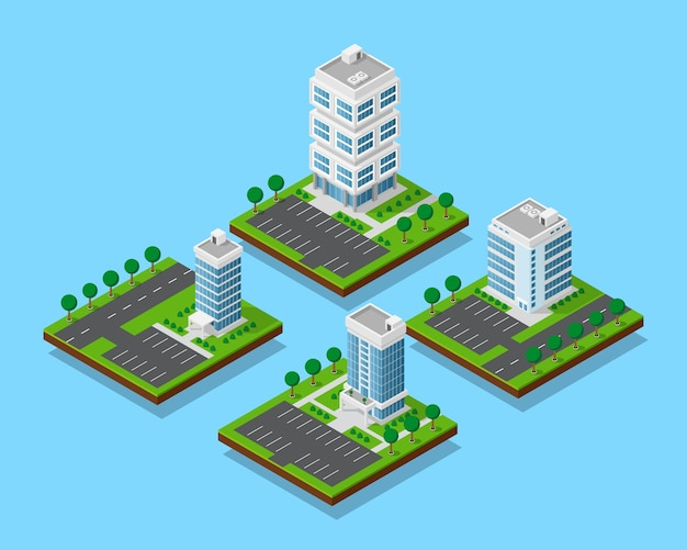 Insieme di edifici per uffici isometrici con alberi, appartamento grattacielo ed edifici per uffici con strade e parcheggi, set di icone, elementi ifografici per la creazione di mappe della città