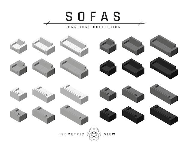 Set di divani e poltrone isometrici
