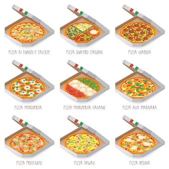 Set di pizza italiana in scatole. 9 articolo. diversi tipi Vettore Premium