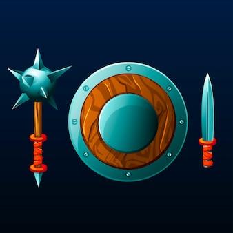 Set di oggetti per il gioco. scudo, mazza e coltello