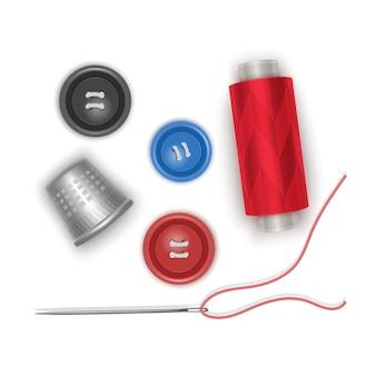 Set di articoli per cucire, filo rosso con ago, bottoni e ditale, in uno stile realistico, illustrazione