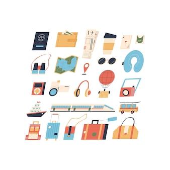 Set di oggetti per il viaggiatore oggetti vettoriali isolati in stile piatto su sfondo bianco