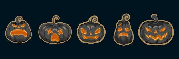 Set di jack oâ € ™ lanterns o vettore di zucche. collezione di zucche di halloween