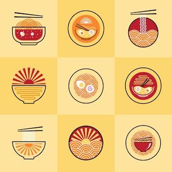 Set di modello di logo di noodle cucina cibo giapponese su sfondo giallo