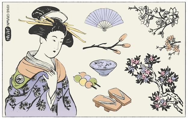 Insieme di elementi di design giapponese. illustrazione di donna geisha.