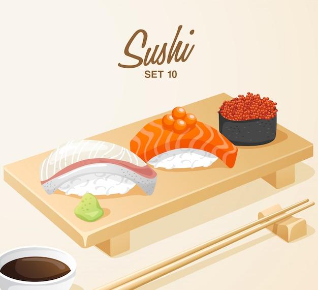 Set di cibo giapponese: sushi misto impostato sul piatto di legno