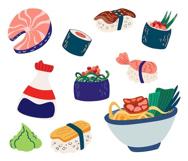 Set di cibo giapponese. sushi, roll, pesce, sashimi e noodle, frutti di mare con riso, salsa di soia, wasabi.