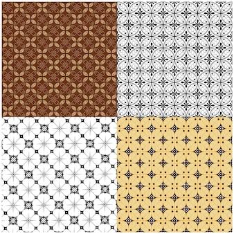 Set di batik giavanese kawung seamless pattern design per stampe su carta regalo in tessuto tessile
