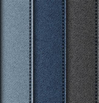 Set di strisce verticali di jeans con punti di sutura.