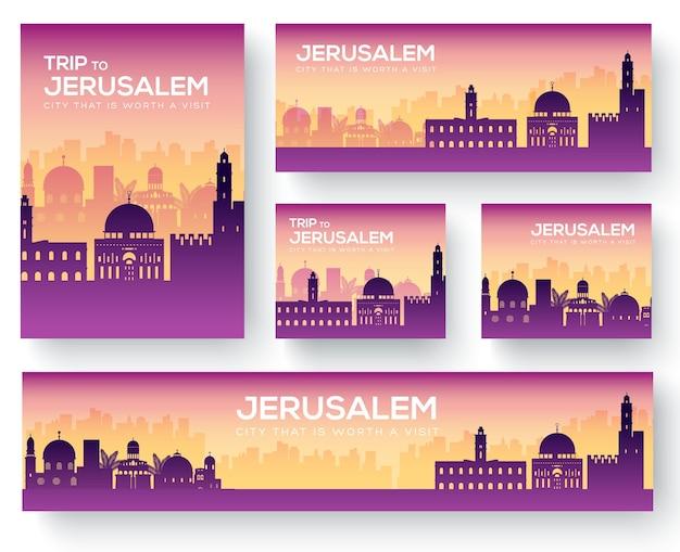 Set di tour di viaggio ornamento paese paesaggio di gerusalemme
