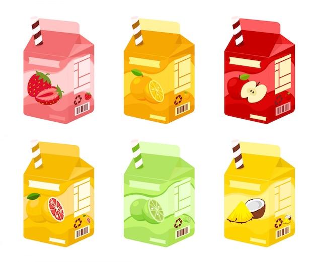 Set di succhi di frutta su scatole con paglia