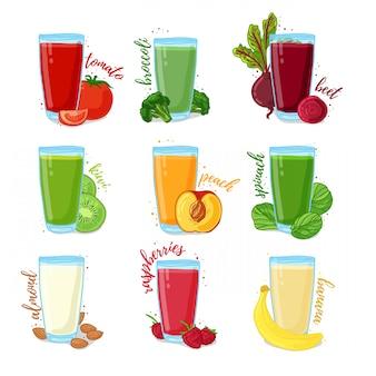 Impostare succhi di frutta, erbe, noci e verdure. raccolta di illustrazioni di bevande per una dieta sana.