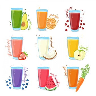 Impostare succhi di frutta e verdura. raccolta di illustrazioni di bevande per una dieta sana. succo di bacche, frutta e verdura per vegetariani.