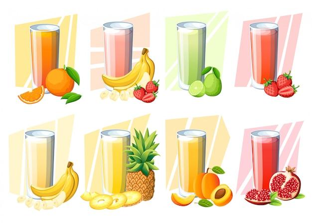 Set di succhi e frullati. bevanda di frutta fresca in vetro. pesca, fragola, banana, lime, melograno, arancia, ananas. illustrazione su sfondo bianco