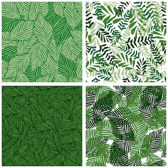 Insieme del reticolo senza giunte della foresta pluviale della foglia della giungla. stampa di piante esotiche. modello tropicale, foglie di palma sfondo floreale vettoriale senza soluzione di continuità