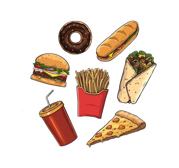 Insieme di alimenti industriali isolato su bianco