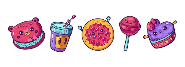 Set di kawaii cartoon style doodle sweety personaggi design illustrazione