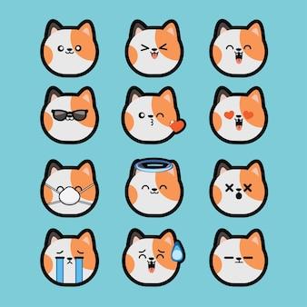 Impostare kawaii facce carine stile occhi e bocche divertenti emoticon del fumetto del gatto