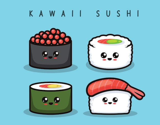 Set di illustrazione di disegno di mascotte di sushi carino kawaii