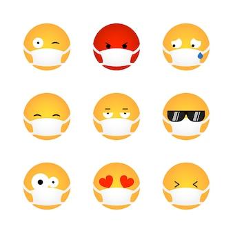 Set di emoticon kawaii con maschera medica isolato su sfondo bianco. concetto di protezione da virus corona. design piatto emoji per social media chat, web, infografica, app. illustrazione