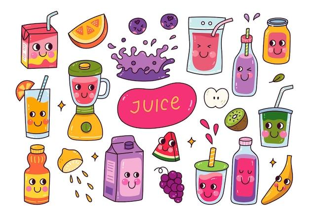 Set di illustrazioni di succo di frutta kawaii
