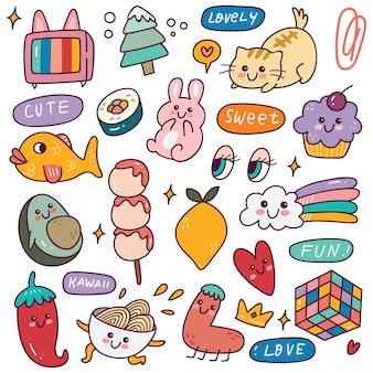 Set di icone kawaii