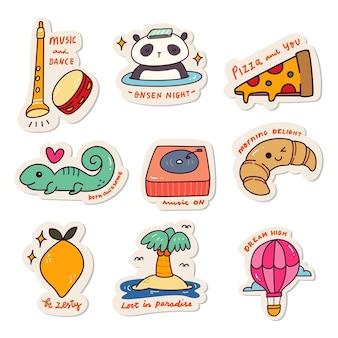 Set di adesivi kawaii doodle set fashion patch design collection