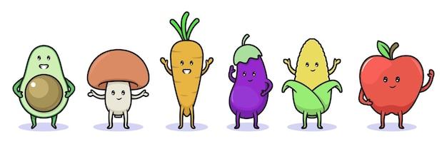 Set di frutta e verdura kawaii