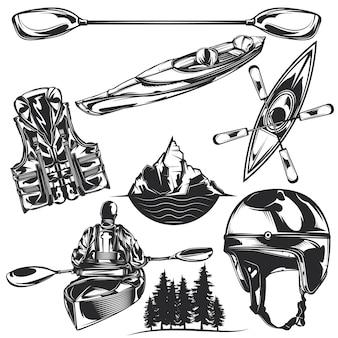 Set di elementi per kayak per creare badge, loghi, etichette, poster, ecc