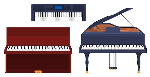 Set di strumenti musicali a tastiera, pianoforte, pianoforte a coda, sintetizzatore isolato su sfondo bianco.