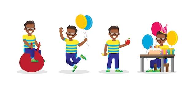 Set di caratteri kid in varie azioni