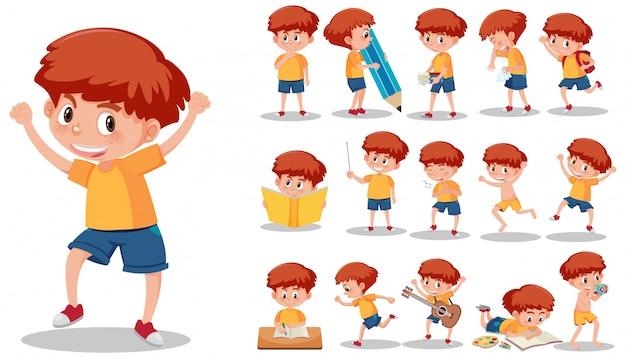 Set di carattere bambino con espressioni diverse su sfondo bianco