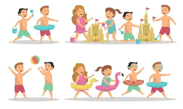 Set di attività per bambini al concetto di spiaggia Vettore Premium