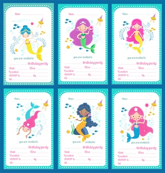 Set di carta modello di invito festa di compleanno di bambini con sirenette carine e un posto per testo, illustrazione