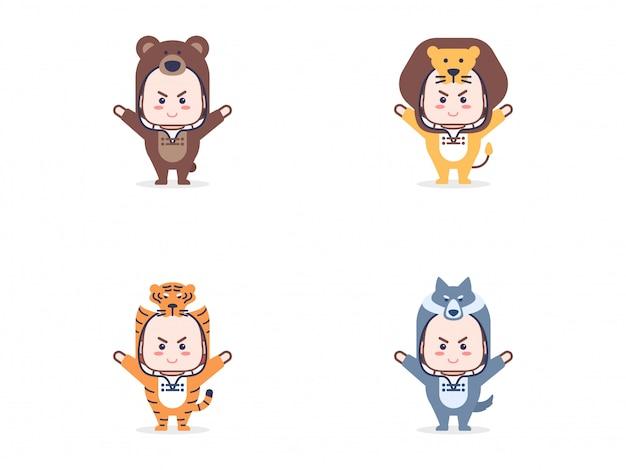 Set di caratteri per bambini con costumi di animali