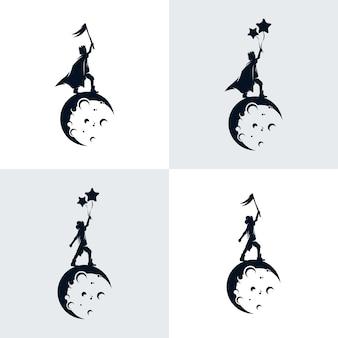 Set di bambini sognano sulla luna