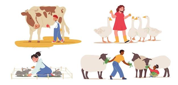 Set di bambini che nutrono gli animali, i bambini visitano lo zoo di allevamento. caratteri per i più piccoli che accarezzano pecore domestiche, conigli e vacca con oche isolati su sfondo bianco. cartoon persone illustrazione vettoriale