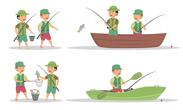 Set di bambini pesca attività disegno vettoriale