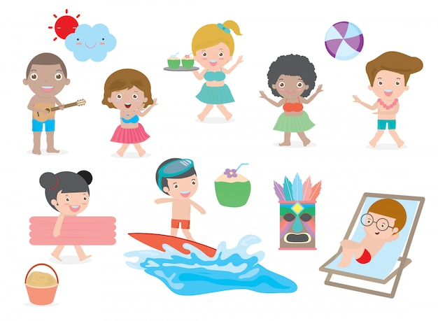 L'insieme dei bambini che si divertono sulla spiaggia, i bambini giocano sulla spiaggia, il bambino che balla sulla spiaggia, illustrazione di vettore