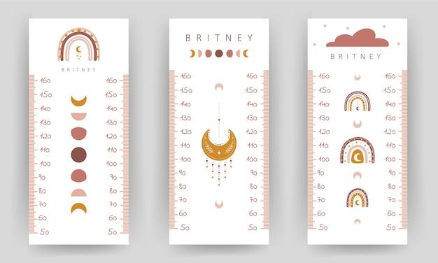 Set di tabella di altezza per bambini. parete del metro con graziosi arcobaleno boho e luna.