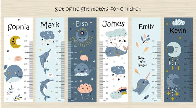 Set di grafico altezza bambini con balena.