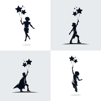 Set di bambini tiene palloncini